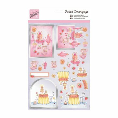 ANITAS FOILED DECOUPAGE BIRTHDAY SURPRISE TOPPERS FOR CARDS /& CRAFTS