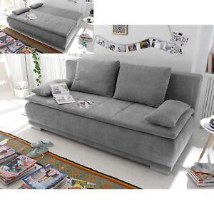 Details Zu Schlafsofa Luigi Dauerschlafer Sofa In Stoff Schlamm Federkern Mit Topper 208 Cm