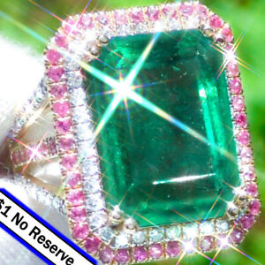 Emerald-Ring-14K-GOLD-21-38ct-Diamond-Pink-Sapphire-ESTATE-Colombian-Emerald-Rin