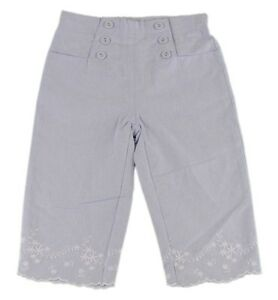 JACADI-Girl-039-s-Trommel-Chambray-High-Waist-Cropped-Pants-Size-12-Years-NWT-56