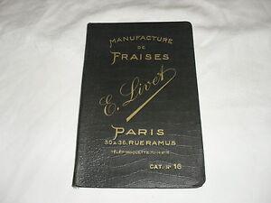 catalogue ,manufacture de fraises en acier rapide  e livet ,environ 1938