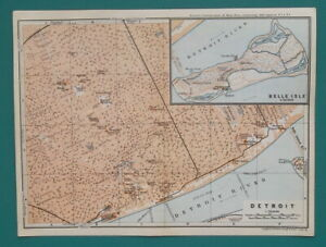 DETROIT-amp-Belle-Isle-Michigan-Town-Plan-1909-MAP-Baedeker-6-x-8-034-15-x-20-cm