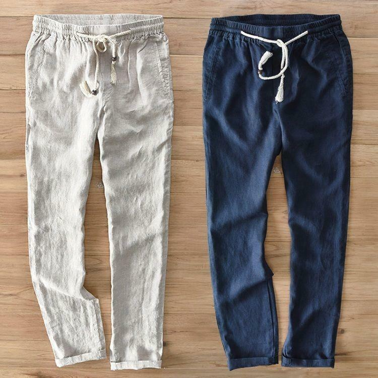 Casual Mens Comfy Cotton Linen Straight Trousers Beach Summer Slim Fit Pants