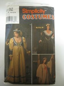 Details about Vtg Simplicity 8192 RENAISSANCE COSTUME DRESS MEDIEVAL Sewing  Pattern Women NOS