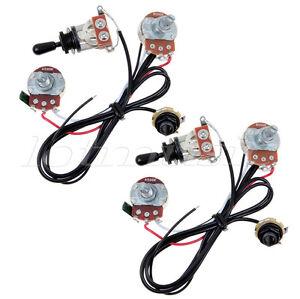 2 sets guitar wiring harness prewired 500k 3 way toggle swtich 2 pickup  black 634458638296 | ebay  ebay