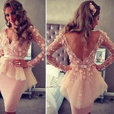 Pink V Neck Long Sleeves Lace Flowers Peplum Celebrity Gown Evening Dress Short