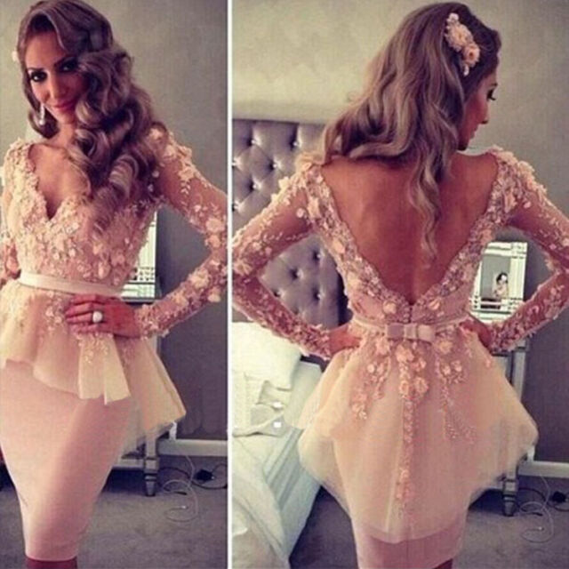 Pink V Neck Long Sleeves Lace Flowers Peplum Celebrity Gown Evening Dress Short