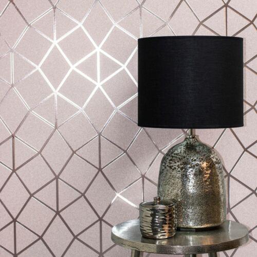 Platine Geo Treillage Texture Papier Peint Fard Rose//Doré Rose Fine Decor