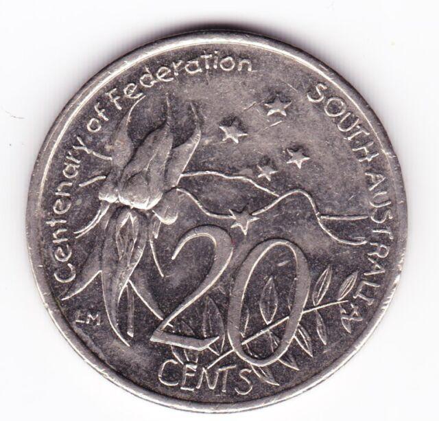 "2001 20c Twenty Cent "" SOUTH AUSTRALIA "" Centenary of Federation Australian ""SA"""