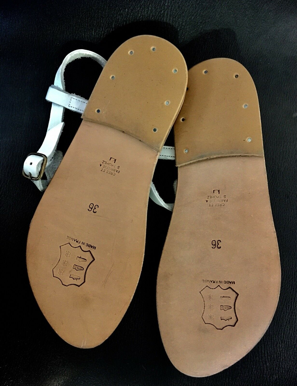 K JACQUES blanc Leather Leather Leather Picon Thong Sandals 26706c