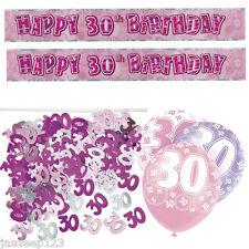 Rosa 30 Aniversario Banner Decoraciones Pack Kit Set Globos Glitz Girl