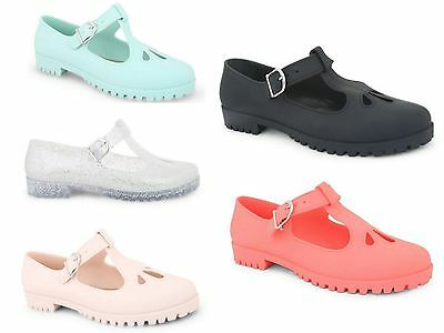Ladies Flat sandals Cut Out Mary Jane T Bar Fashion Geek Pumps Jelly Shoes Size