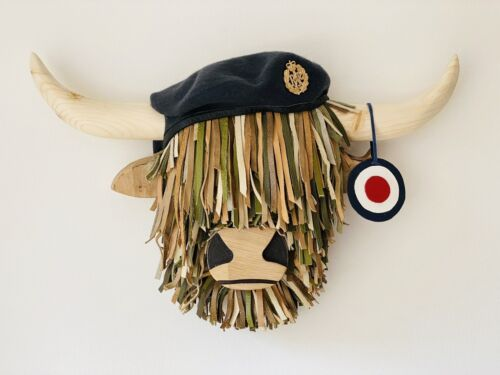 Quality Handmade militaire mural highland Cow Head.