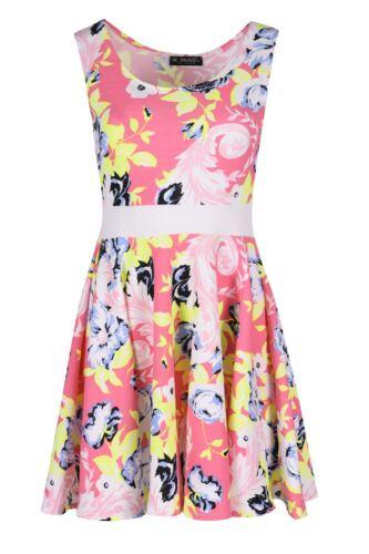 Womens Neon Leaves Crepe Baggy Mini Dress Ladies Franki Flared Skater Top
