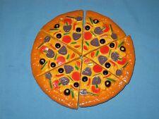 "Lot 6 Pretend Play Food Kitchen Whole 8"" Across W/Velcro Pizza Slice Supreme!"