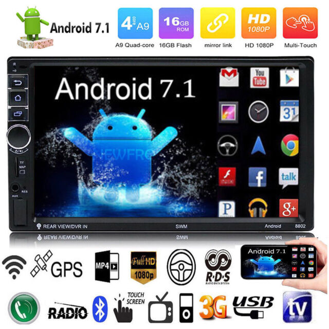 "7"" 2DIN Car Radio Stereo MP5 MP3 Player GPS Navi Android 7.1 3G WIFI BT FM Audio"