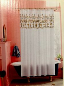 Image Is Loading Opal House Metallic Gold Floral Border Shower Curtain