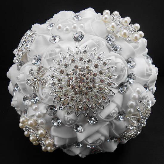 Handmade Crystal Bridal Wedding Bouquet Ture White Silk Rose Flower Brooch Decor