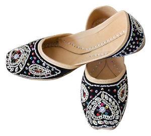 Women-Shoes-Indian-Handmade-Mojari-Leather-Black-Oxfords-UK-3-5-9-5-EU-36-44