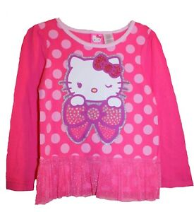 Toddler Girls Pink Polka Dot HELLO KITTY Top-NEW-Shirt-Bow-Wink-Cat 3T or 4T