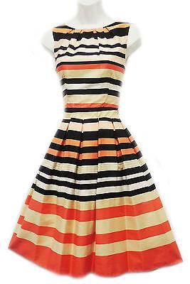 New Retro 1940's WW2 Wartime Classic Brown Peach Striped Border Print Tea Dress