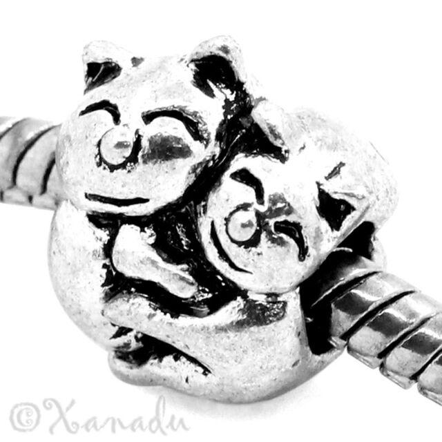 Happy Hugging Kitty Cats European Charm Bead For European Charm Bracelet Chains