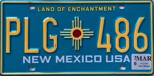 New Mexico Turquoise American Licence USA License Number Plate Tag PLG 486