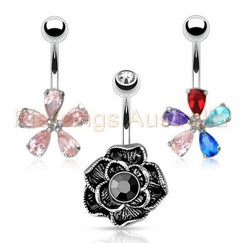 Flower Belly Button Bar Navel Ring Barbell Body Piercing Jewellery