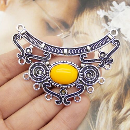 Lot 5PCS Retro Silver Alloy Yellow Bead Hollow Charms Necklace Pendant Connector