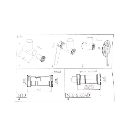 Quai BB92//BB86 Thread Press Fit Ceramic Bearing Bottom Bracket Shimano//FSA