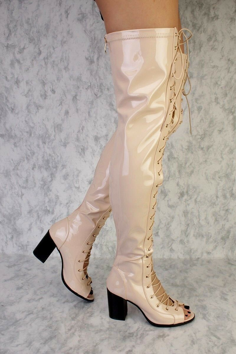Lot 4 4 4 Nude Black Pink gold LACE UP THIGH HIGH HEEL FLARE BOOTS FAUX LEATHER 17a4d9