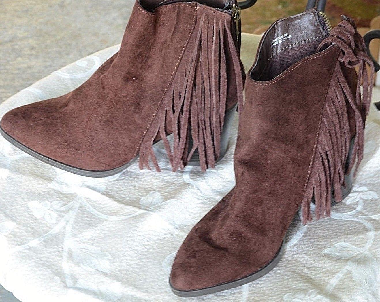 Madden girl brown suede fringe zip booties size 6.5 B