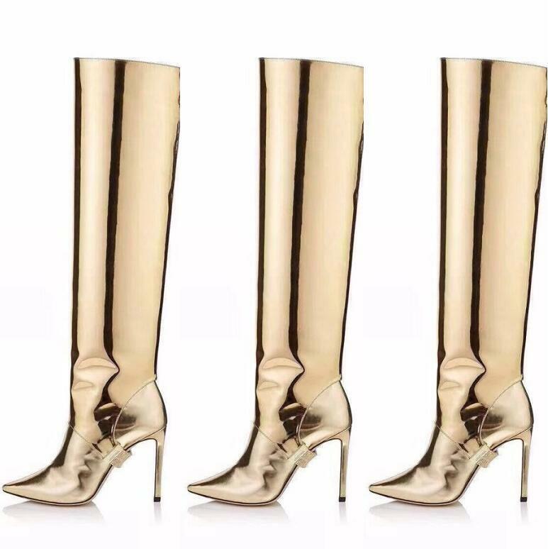Metallic Glitzer Kniehohe Damenstiefel Stilettos Super High Heel Slouch Schlupf