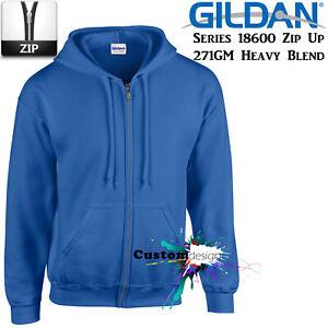 Gildan-Royal-Blue-Zip-Up-Hoodie-Basic-Hooded-Sweatshirt-Sweater-Fleece