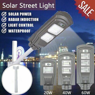 20W-60W LED Solar Powered PIR Motion Outdoor Lamp Wall Street Light Garden Path