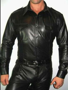 Men-039-s-Real-Leather-Police-Shirt-Long-Sleeves-Leather-Police-Style-BLUF-Shirt