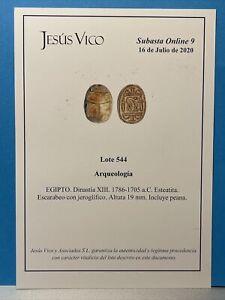 EGITTO - SCARABEO DINASTIA XIII - Anno 1786-1795 a.C. - Certificato Jesus Vico