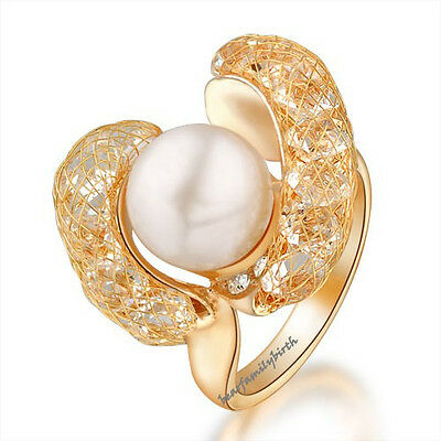 Fashion White Pearl Net Crystal Flower Ring Women Gift 18k Rose Gold Plated R112