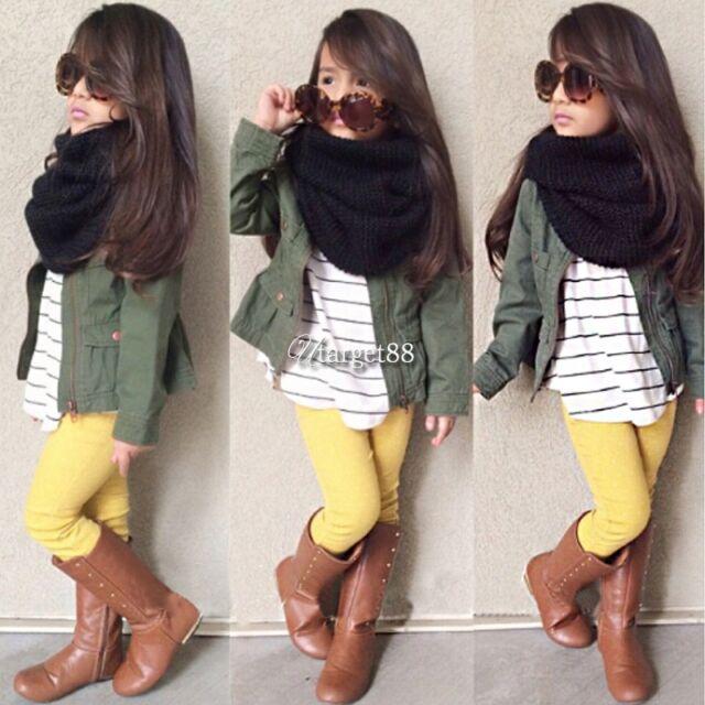 3 Pcs Kids Baby Girls Striped shirt Top + Pants + Coat set Outfits Clothes UTAR