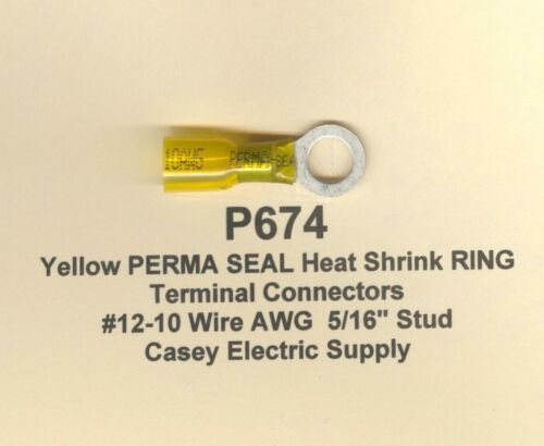 10 Yellow PERMA SEAL Heat Shrink RING Terminal Connectors #12-10 Wire 5//16 MOLEX