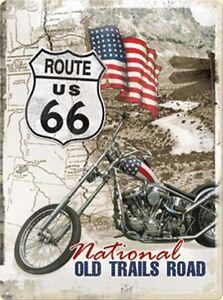 Route 66 Retrò LAMIERA SCUDO/Tin Sign con Peter Fonda BIKE 30 x 40 CM NUOVO  </span>