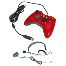 USB Wired Gamepad Controller + Live Headset Headphone with MIC for Xbox 360 Slim