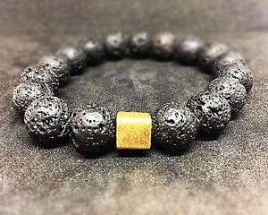 Lava-925er-sterling-Silber-vergoldet-Armband-Bracelet-Perlenarmband-schwarz-12mm