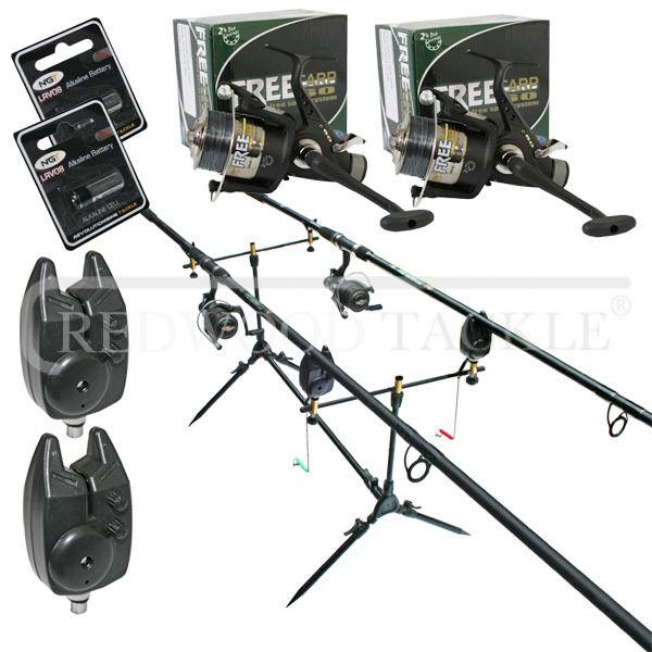 Carp Fishing 2 x Rods 2 x 3BB BTR Runner Reels + Line,Pod, 2 x Alarms+Batteries