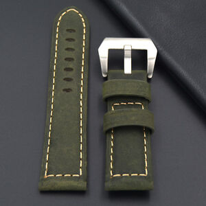 Leather-strap-in-22mm-Green-22-20mm-compatible-with-Panerai-watch-Breitling