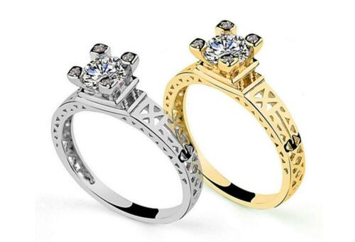 M-inlay CZ The Eiffel Tower Gold//Silver Engagement Wedding Solitaire Ring RS28