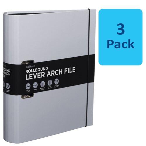 3 x WHSmith Pastel Lilac Rollbound A4 Lever Arch File 50mm Black Elastic Closure