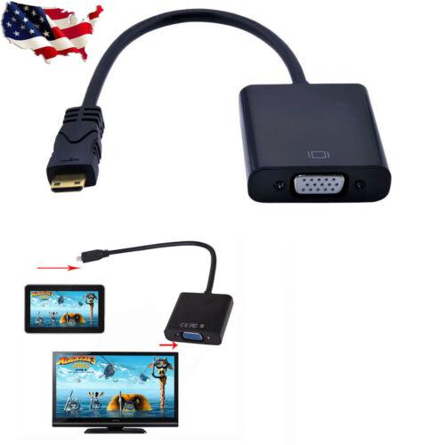 Latest Chipset Mini HDMI Male to VGA Female Video Converter Adapter AV TV Cable
