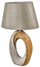 LARGE Rustic Retro Wood Grain Effect Ceramic Hole Taupe Linen Shade Table Lamp