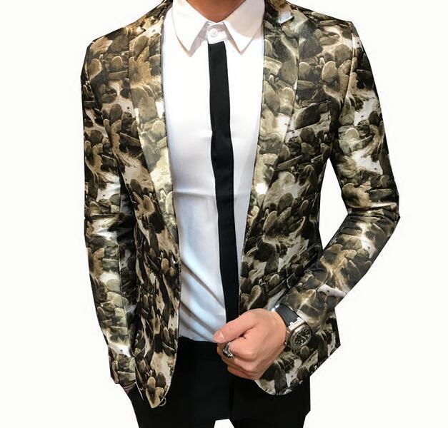 Para hombres Calce ajustado con solapa Cuello  Floral Traje de abrigo Chaqueta Blazer K6 Discoteca Escenario  marcas en línea venta barata